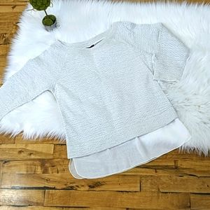 Textured knit 3/4 sleeve cotton layered sweater